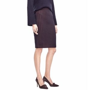 Ann Taylor Navy/Orange Houndstooth Knit Pencil 8
